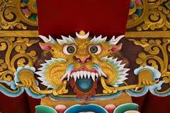 Imagen mitológica de un león en monasterio budista La India Imagen de archivo libre de regalías