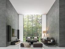 Imagen moderna de la representación de la sala de estar 3d del desván ilustración del vector