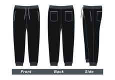Imagen negra del vector de los pantalones del ` s de los hombres Fotos de archivo