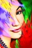 Imagen original de una muchacha con las plumas stock de ilustración
