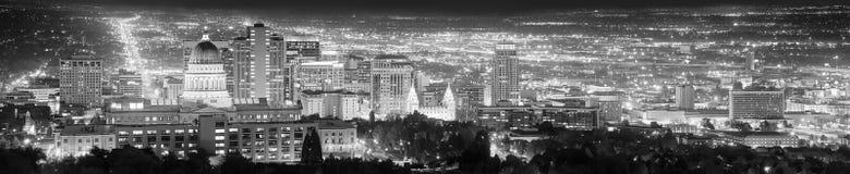 Imagen panorámica blanco y negro de Salt Lake City, los E.E.U.U. Imagen de archivo libre de regalías