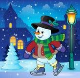Imagen patinadora 3 del tema del muñeco de nieve Foto de archivo libre de regalías