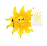 Imagen pintada sol divertido de la historieta Fotografía de archivo libre de regalías