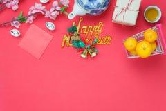 Imagen plana de la endecha de la decoración y de los ornamentos de los artículos por Año Nuevo chino y día de fiesta lunar Fotografía de archivo libre de regalías