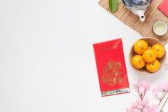 Imagen plana de la endecha del Año Nuevo chino de los accesorios Fotos de archivo libres de regalías