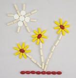 Imagen plana de píldoras y de cápsulas Foto de archivo
