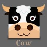Imagen plana del vector de una cara de la vaca Fotografía de archivo