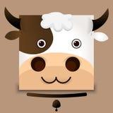 Imagen plana del vector de una cara de la vaca Foto de archivo