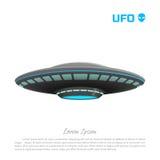 Imagen realista de un UFO en un fondo blanco Dibujo detallado de un arte futurista ilustración del vector