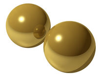 Imagen rendida de las bolas de cobre amarillo Fotografía de archivo