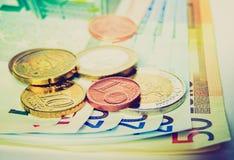 Imagen retra de los euros de la mirada Imagenes de archivo