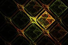 Imagen roja del fractal abstracto y verde amarilla geométrica de la rejilla Imagen de archivo libre de regalías