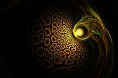 Imagen roja del vieja oro del fractal y verde amarilla geométrica abstracta Fotografía de archivo