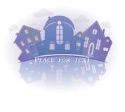 Imagen simbólica de las propiedades inmobiliarias aislada en el fondo blanco Icono del vintage de casas Fotos de archivo libres de regalías