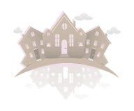Imagen simbólica de las propiedades inmobiliarias aislada en el fondo blanco Icono del vintage de casas Foto de archivo
