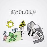 Imagen sobre la ecología en fondo ligero Foto de archivo