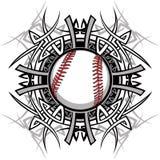 Imagen tribal del vector del béisbol/del beísbol con pelota blanda Imagen de archivo libre de regalías