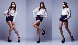 Imagen triple del mismo modelo de moda en diversas actitudes imagen de archivo