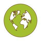 imagen verde del icono de la tierra del planeta Fotos de archivo libres de regalías