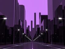 Imagen violeta de la representación de la ciudad 3d Fotografía de archivo libre de regalías
