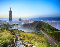 Imageng of skyline of Xinyi District in downtown Taipei, Taiwan Royalty Free Stock Photo