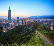 Imageng of skyline of Xinyi District in downtown Taipei, Taiwan Stock Photography