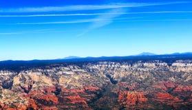 Imagens aéreas das formações de rocha vermelhas de Sedona o Arizona Fotografia de Stock Royalty Free