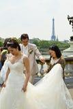 Imagens bonitas do casamento dos pares de Ásia na ponte de Pont Alexandre III em Paris Imagens de Stock Royalty Free