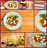 Imagens com uma variedade de salada com mussarela e os legumes frescos no fundo de madeira da tabela collage fotografia de stock royalty free