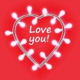 imagens 3d isoladas no fundo branco Festão no formulário do coração com as luzes de incandescência isoladas no fundo cor-de-rosa  ilustração do vetor
