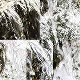 Imagens da cachoeira artifitial pequena Colagem da água de queda na fonte do parque Fotografia de Stock