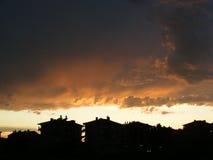 Imagens da paisagem da cidade no sol da noite Foto de Stock Royalty Free