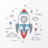 Imagens de Rocket O lançamento do foguete de espaço, a ciência e a canela, negócio startup, projeto começam acima e processo de d ilustração royalty free
