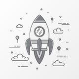 Imagens de Rocket O lançamento do foguete de espaço, a ciência e a canela, negócio startup, projeto começam acima e processo de d ilustração do vetor