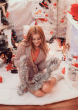 Imagens do ano novo, teste padrão no ano da marinha, foto do Natal, menina, um retrato bonito da menina de uma menina, modelo de  Fotos de Stock Royalty Free