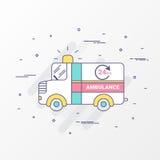 Imagens do carro da emergência da ambulância Curso linear fino moderno Para cuidados médicos gráficos, encabeçamento da site e ap ilustração royalty free