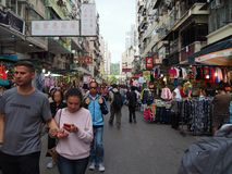 Imagens do fá Yuen Street Market em Hong Kong foto de stock
