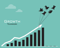Imagens do vetor dos pássaros e do gráfico de negócio Imagens de Stock