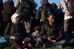 Imagens dramáticas da crise esloveno do refugiado Fotografia de Stock