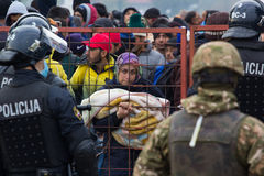 Imagens dramáticas da crise esloveno do refugiado Imagem de Stock Royalty Free