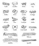 Imagens lineares do alimento italiano clássico Tipos diferentes de massa ilustração do vetor
