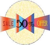 Imagens modelo completas finais do ícone da venda 50% e do botão do collour da forma redonda da oferta ilustração stock