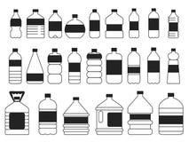 Imagens monocromáticas ajustadas de garrafas plásticas Símbolos do empacotamento ilustração royalty free