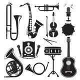Imagens monocromáticas diferentes dos instrumentos musicais isolados no branco Imagens do vetor ajustadas ilustração stock