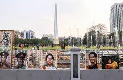 Imagens na frente de Maha Bandula Park em Yangon Imagem de Stock