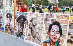Imagens na frente de Maha Bandula Park em Yangon Fotos de Stock Royalty Free