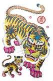 Imagens tradicionais do ano novo - o tigre Imagens de Stock Royalty Free