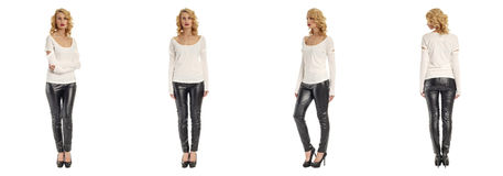 Images of an amazing girl in black leather pants on a white Royalty Free Stock Photo