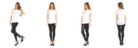 Images of an amazing girl in black leather pants on a white background Royalty Free Stock Image