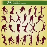 25 images of basketball players. 25 brown images of players of basketball on a yellow background Stock Image